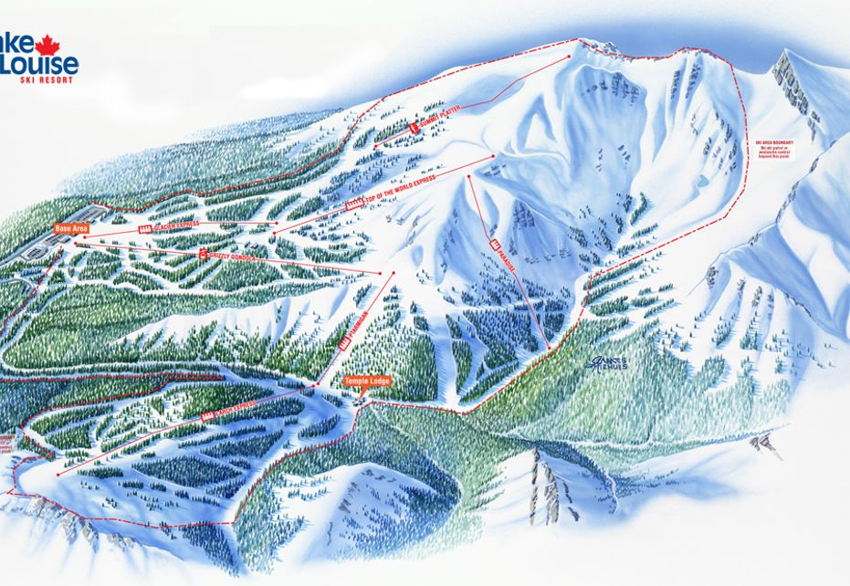 Banff Lake Louise Ski Trail Overview Map