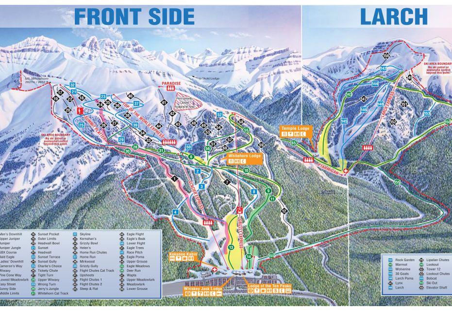 Banff Lake Louise Front side & Larch Ski Trail Map