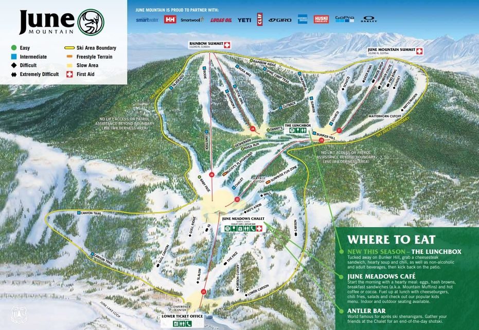 June Mountain Ski Trail Map
