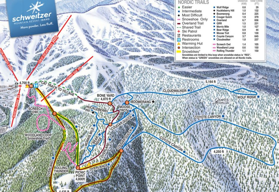 Schweitzer Nordic Ski Trail Map