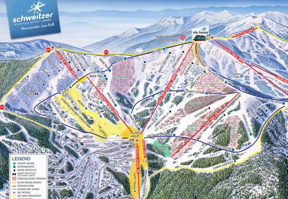 Schweitzer Ski Trail Map - Bowl