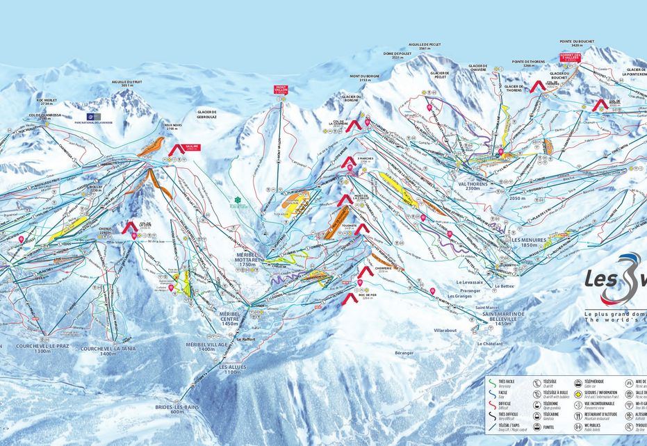 The 3 Valleys Ski Map