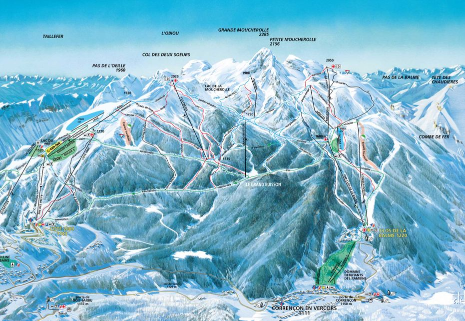 Corrençon en Vercors Ski Map