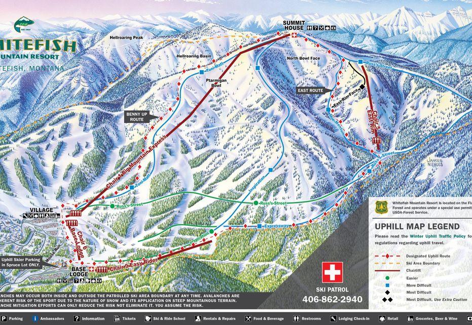 Whitefish Mt Ski Map - Uphill