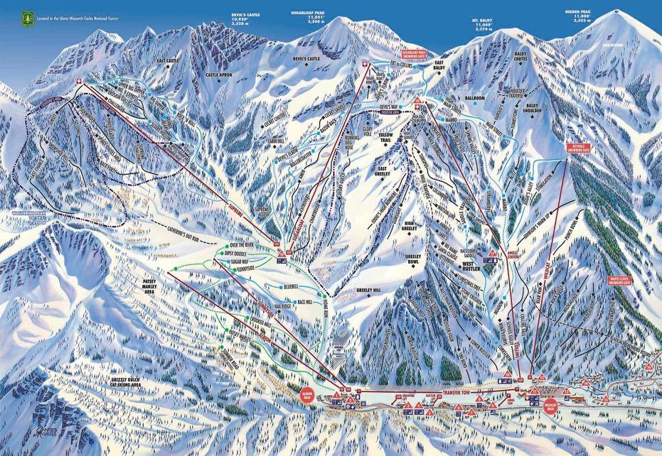 Alta Ski Trail Map