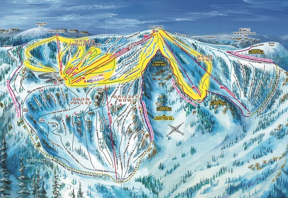 Bear Valley Ski Trail Map - Upper Mountain
