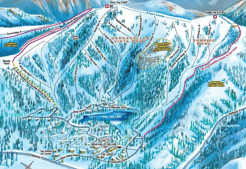 Bear Valley Ski Trail Map - Village Side