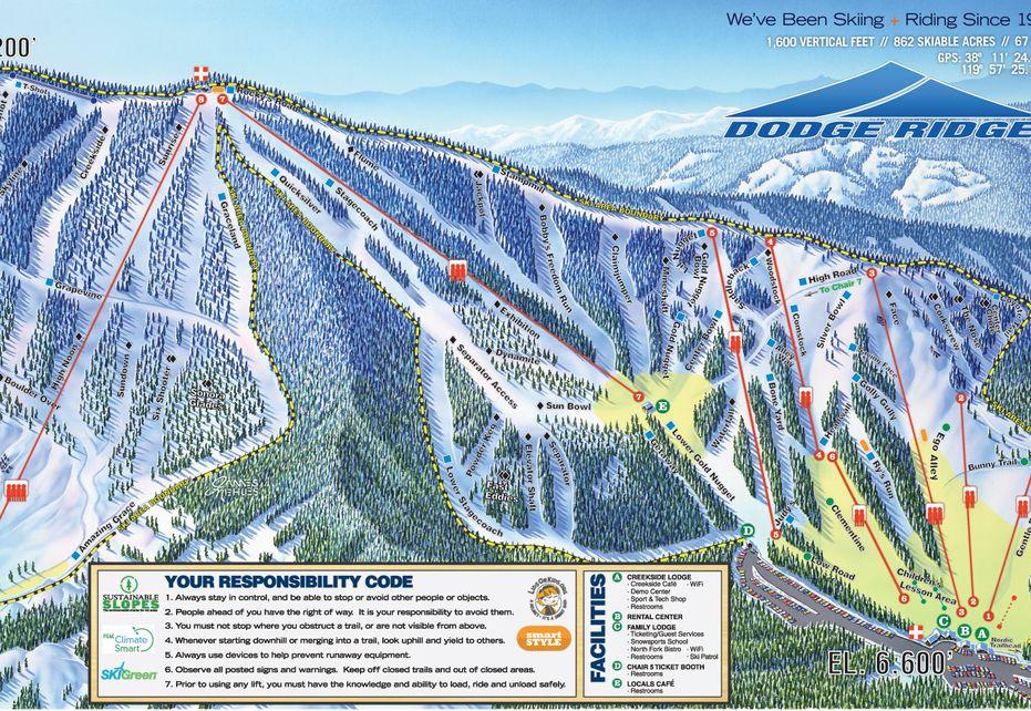 Dodge Ridge Ski Trail Map