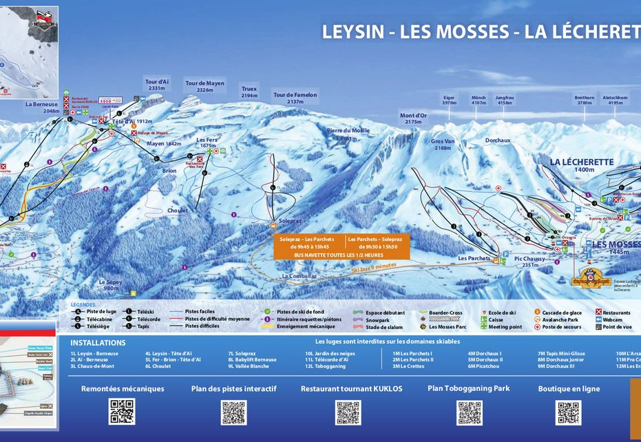 Les Mosses Ski Map