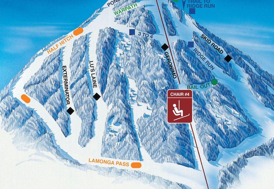 Mount Spokane Ski Trail Map - Chair 4