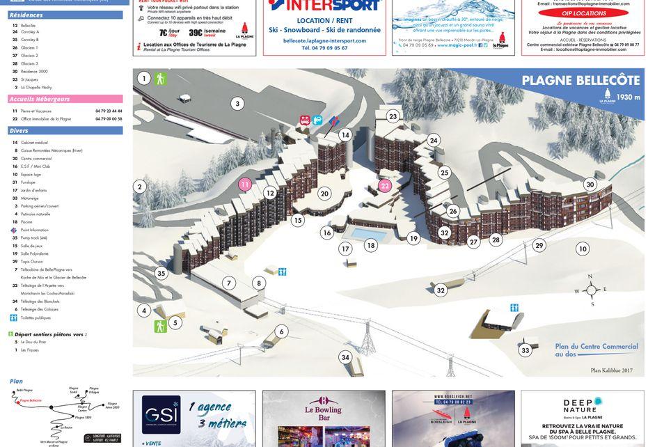 Plagne Bellecote Ski Resort map