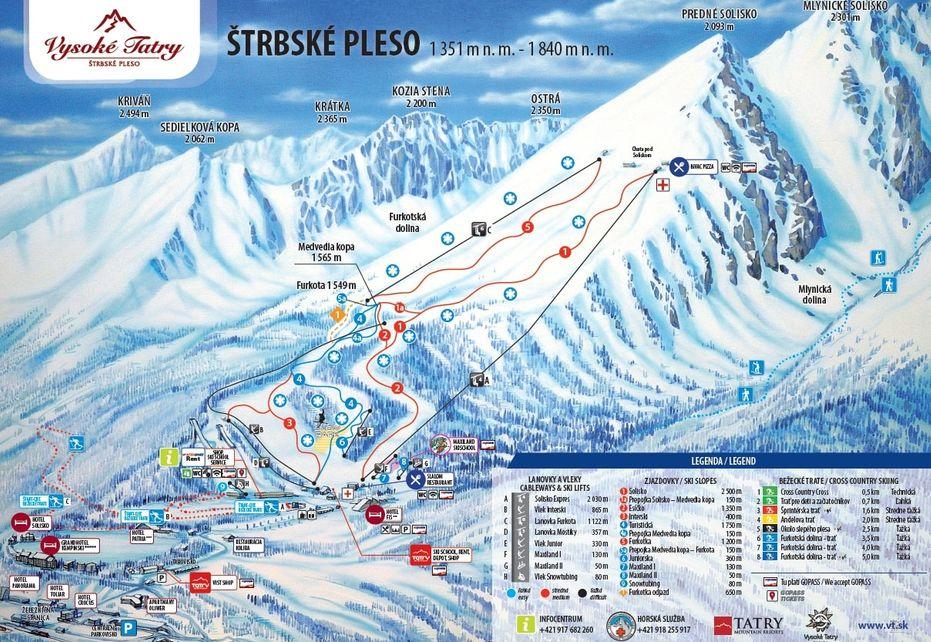 Strbske Pleso Ski Map