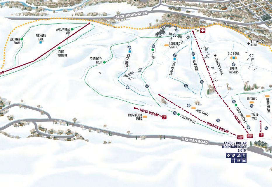 Sun Valley Ski Trail Map - Dollar Mountain