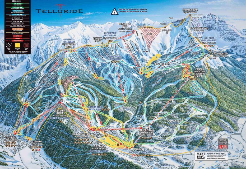 Telluride Ski Trail Map