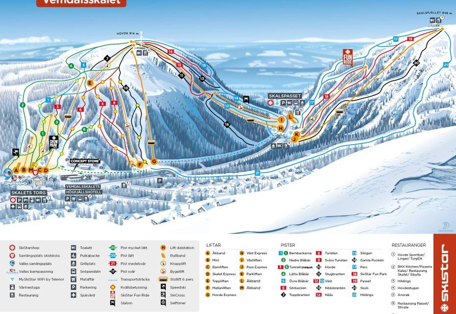 Vemdalsskalet Ski Map