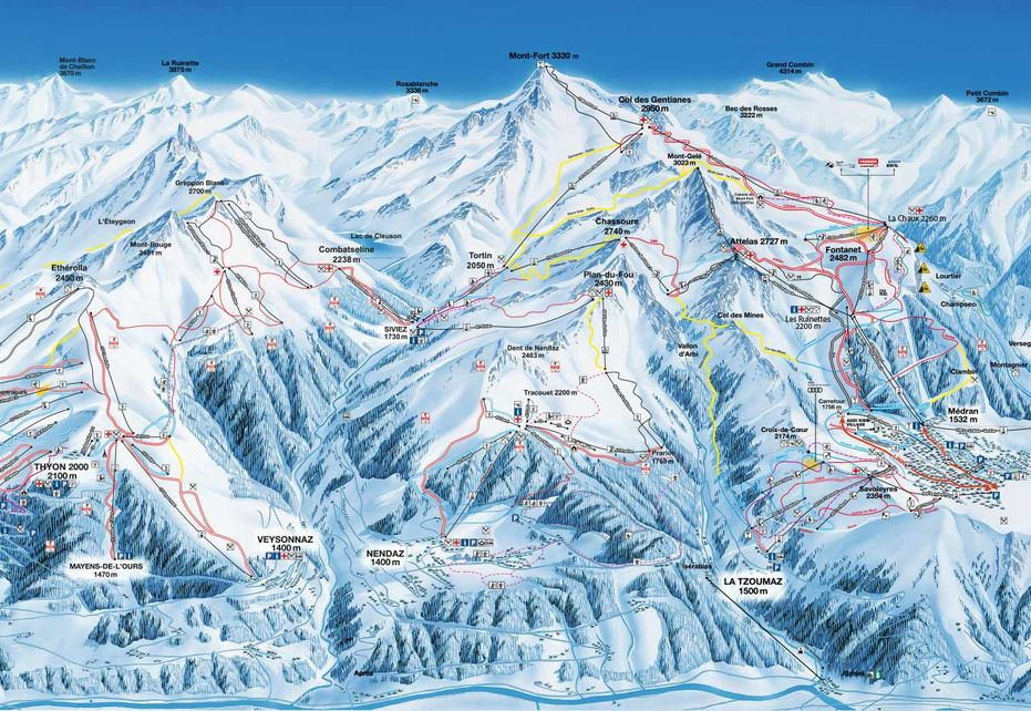 Nendaz 4 Vallees Ski Map