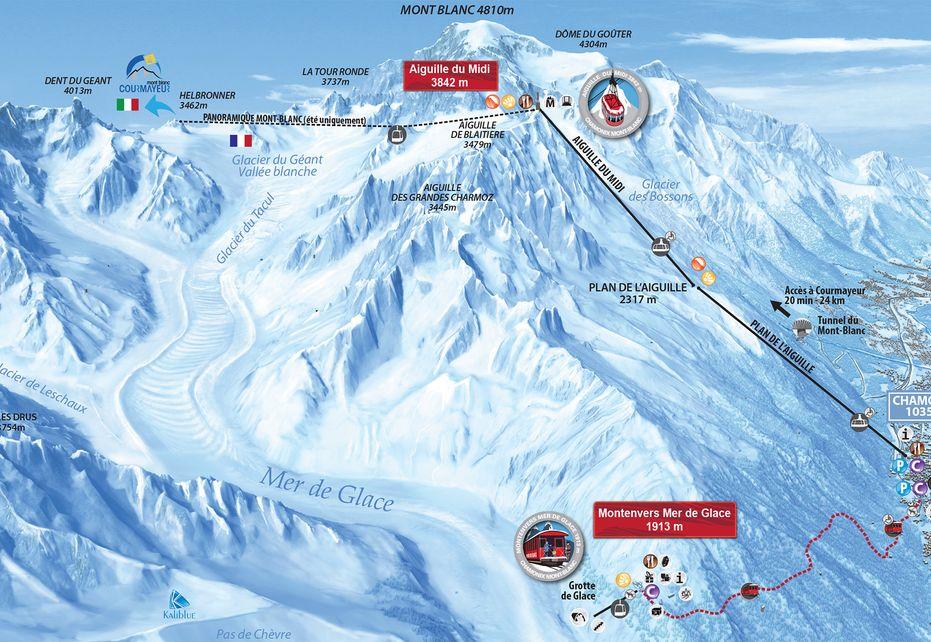Chamonix - Aiguille du Midi Ski Map