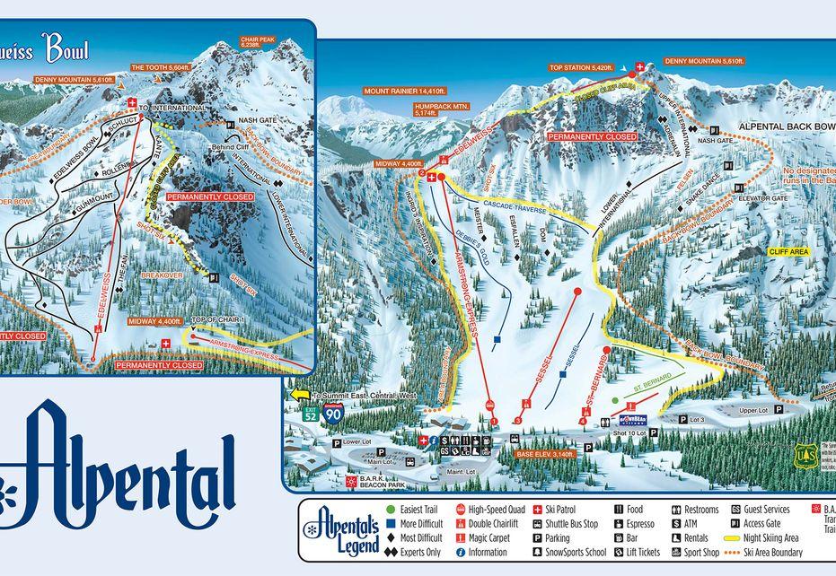 Summit Ski Trail Map - Alpental