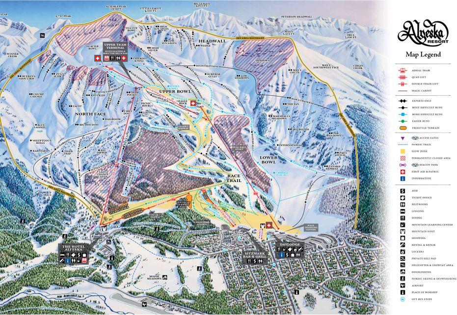 Alyeska Ski Trail map