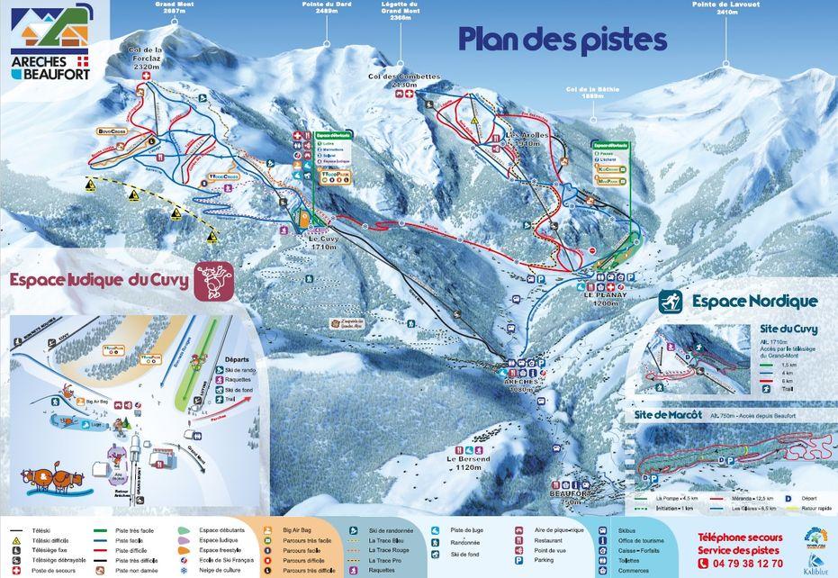 Areches Beaufort Ski Map