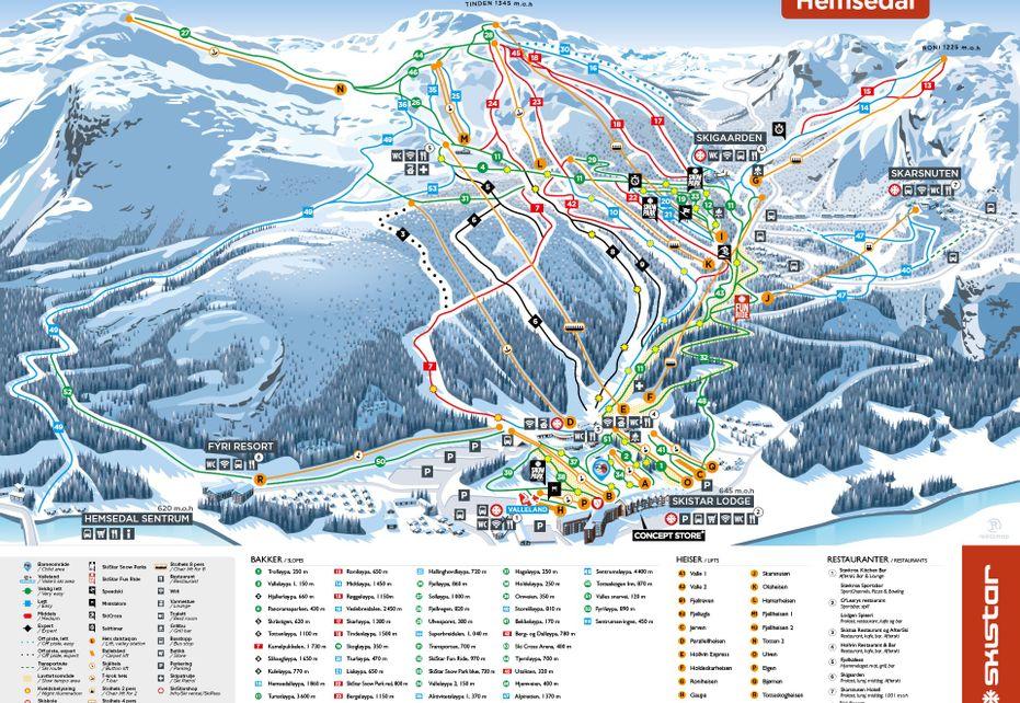 Hemsedal Ski Map