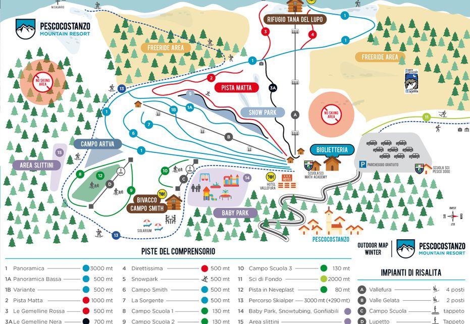 Pescocostanzo Ski Map