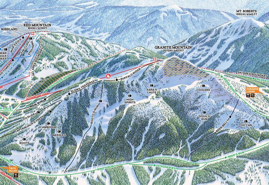 Red Mountain Ski Map - Granite