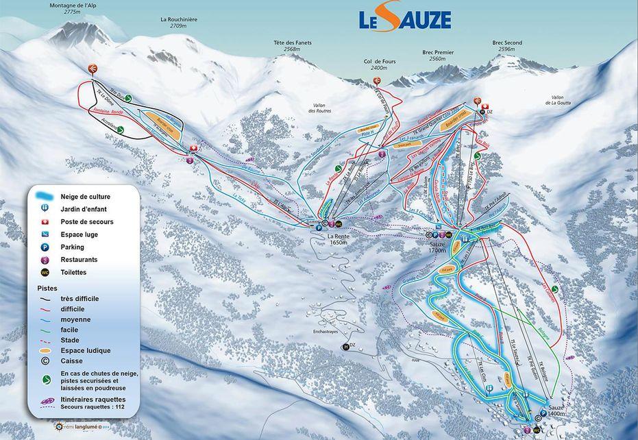 Sauze Ski Map