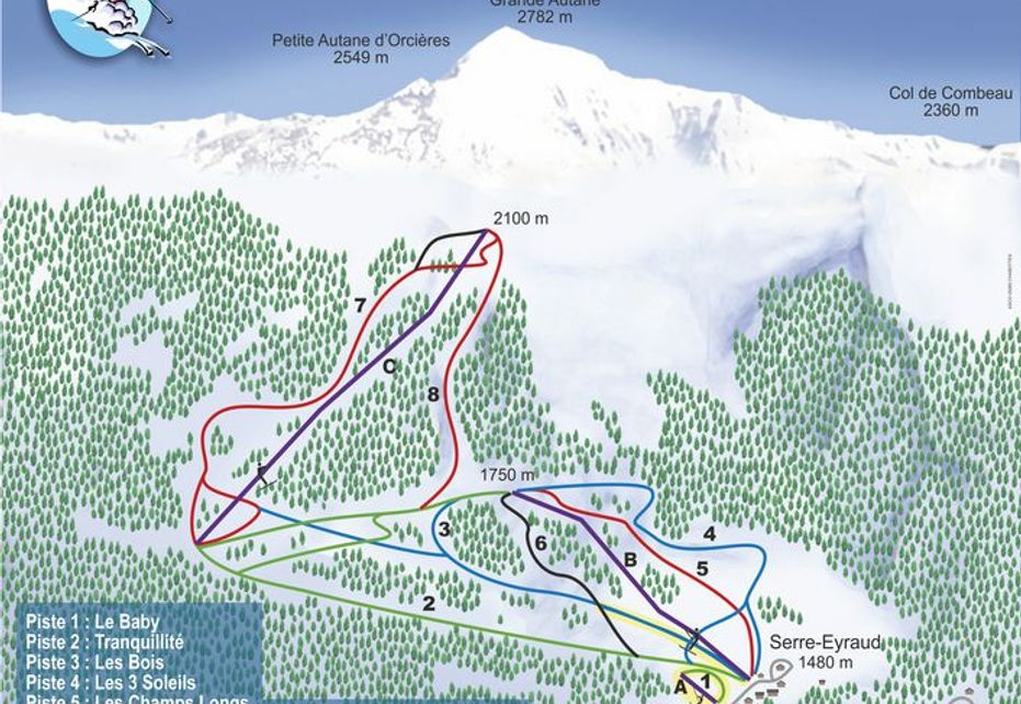 Serre Eyraud Ski Map