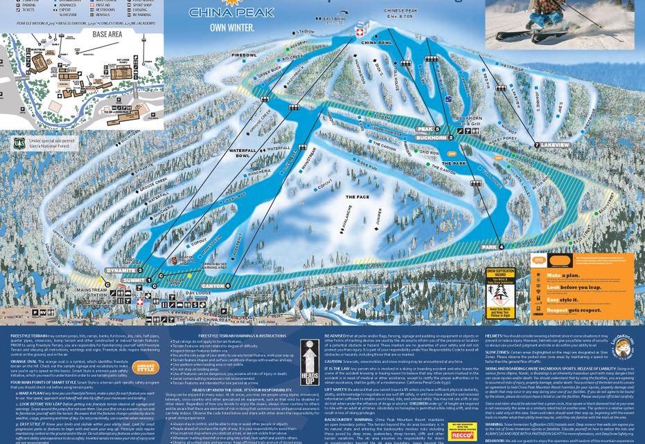 China Peak Ski Trail Map