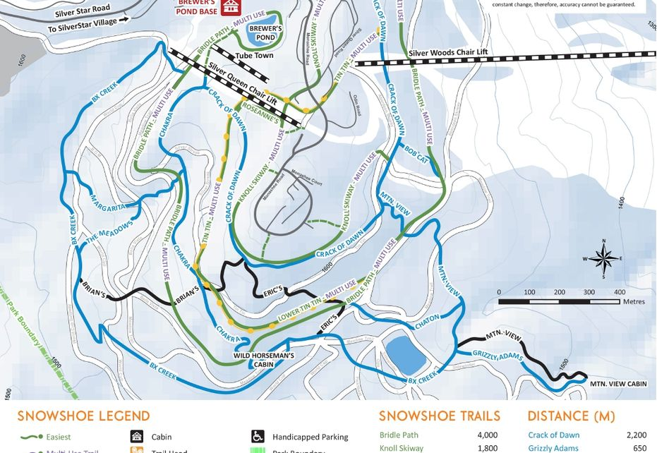 Silverstar Snow Shoe Trail map